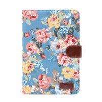 Bloemen rozen kleurrijk leren klaphoes standaard iPad mini 4 5 - Lichtblauw