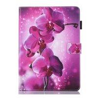 Orchidee bloem flipcase leder hoes iPad mini 1 2 3 4 5 - Paars Roze