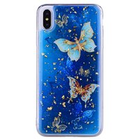 Glitter hoesje vlinders TPU goud iPhone XS Max - Blauw