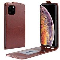Verticale Flip kunstleer wallet hoesje iPhone 11 Pro Max case - Bruin