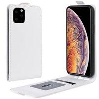 Verticale Flip kunstleer wallet hoesje iPhone 11 Pro Max case - Wit