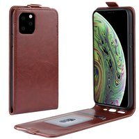 Verticale Flip kunstleer wallet hoesje iPhone 11 Pro case - Bruin