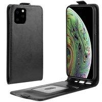 Verticale Flip kunstleer wallet hoesje iPhone 11 Pro case - Zwart