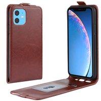 Verticale Flip kunstleer wallet hoesje iPhone 11 case - Bruin
