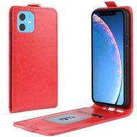 Verticale Flip kunstleer wallet hoesje iPhone 11 case - Rood