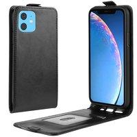 Verticale Flip kunstleer wallet hoesje iPhone 11 case - Zwart