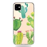 Vrolijk Flexibel Cactus Hoesje iPhone 11 TPU case - Doorzichtig