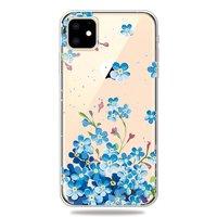 Schattig Flexibel Blauwe Bloemetjes Hoesje iPhone 11 TPU case - Doorzichtig