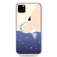 Zee Water Blauw Druppels IJsbeer Zeehond Hoesje iPhone 11 Pro TPU case - Doorzichtig