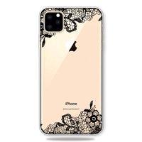 Zwart Wit Bloemen Getekend Omlijnd Creatief Hoesje iPhone 11 Pro Max TPU case - Doorzichtig
