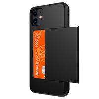 Pasjeshouder hoesje portemonnee TPU hardcase iPhone 11 - Zwart