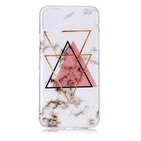 Marmer Patroon Driehoek Goud Roze Zwart Figuur Creatief iPhone 11 Pro Max TPU case