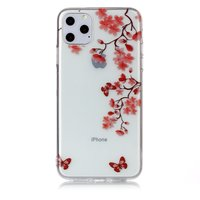 Bloemen Bloesem Vlinders Rood Natuur Hoesje Case TPU iPhone 11 Pro Max - Transparant