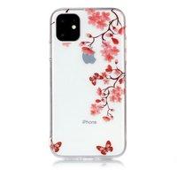 Bloemen Bloesem Vlinders Rood Natuur Hoesje Case TPU iPhone 11 - Transparant