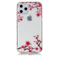 Bloemen Roze Takken Natuur Hoesje Case TPU iPhone 11 Pro - Transparant