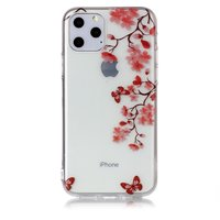 Bloemen Bloesem Vlinders Rood Natuur Hoesje Case TPU iPhone 11 Pro - Transparant