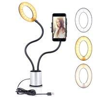 Selfie licht smartphone houder dimbaar 3 kleuren licht - Zilver Zwart