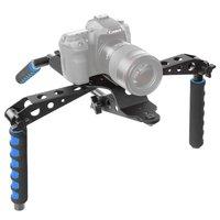 Opvouwbare Camera RIG stabilizer DSLR camera aluminium schouderstatief - Zwart Blauw