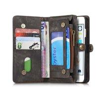 Caseme splitlederen iPhone 6 Plus 6s Plus Wallet Bookcase Hoesje Portemonnee - Grijs