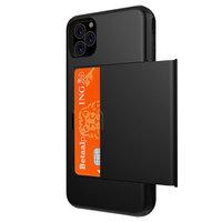 Pasjeshouder hoesje portemonnee TPU hardcase iPhone 11 Pro Max - Zwart