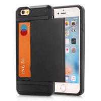 Secret pasjeshouder hoesje iPhone 7 8 SE 2020 hardcase - Portemonnee - Wallet - Zwart