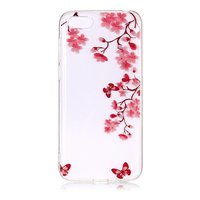 iPhone 7 8 TPU hoesje Bloesem - Transparant Roze Rood