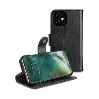 Xqisit Eman wallet case beschermhoes pasjeshouder leer iPhone 11 - Zwart