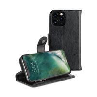 Xqisit Eman wallet case beschermhoes pasjeshouder leer iPhone 11 Pro - Zwart