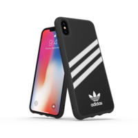 adidas Moulded case strepen beschermhoesje iPhone XS Max - Zwart Wit