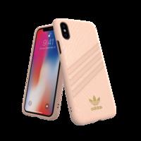 adidas Moulded case strepen slangenleer beschermhoesje iPhone X XS - Lichtroze Goud
