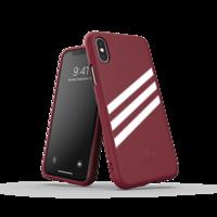 adidas Moulded case strepen suede beschermhoesje iPhone X XS - Bordeauxrood Wit