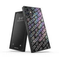 adidas case holografisch vierkant hoesje glimmend iPhone 11 - Zwart Zilver