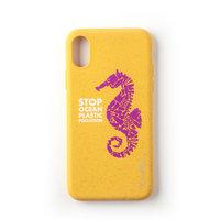 Wilma Stop Plastic Case Biologisch Afbreekbaar Beschermend Hoesje Zeepaardje iPhone XR - Geel