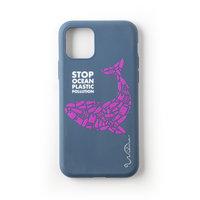 Wilma Stop Plastic Case Biologisch Afbreekbaar Beschermend Hoesje Walvis iPhone 11 - Donkerblauw