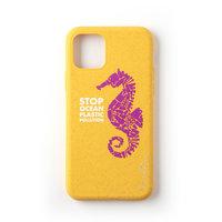 Wilma Stop Plastic Case Biologisch Afbreekbaar Beschermend Hoesje Zeepaardje iPhone 11 - Geel