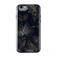 Wilma glow in the dark glans bladeren case plant lijnen iPhone 6 6s 7 8 SE 2020 - Zwart