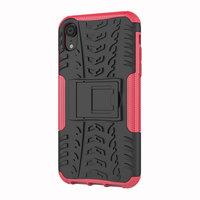 Bandenprofiel hoesje TPU Polycarbonaar iPhone XR case - Zwart Roze Bescherming