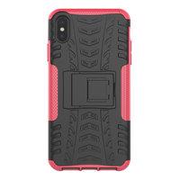 Bandenprofiel hoesje TPU Polycarbonaar iPhone XS Max case - Zwart Roze Bescherming