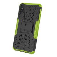 Bandenprofiel hoesje TPU Polycarbonaar iPhone XS Max case - Zwart Groen Bescherming