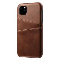 Lederen Portemonnee Wallet iPhone 11 Pro Max hoesje - Bruin Bescherming