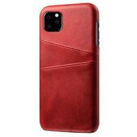 Lederen Portemonnee Wallet iPhone 11 hoesje - Rood Bescherming