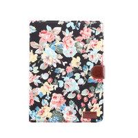 Wallet Portemonnee Hoes Case Flowerprint Bloemenstofpatroon Kunstleer voor iPad 10.2 inch - Zwart