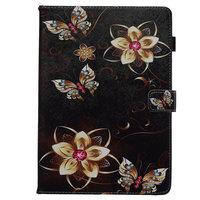 Hoes Case Wallet Portemonnee Bloemen Vlinders Kunstleer voor iPad 10.2 inch - Zwart