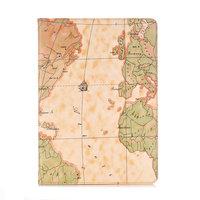 Hoes Case Wallet Portemonnee Kunstleer Wereldkaartpatroon voor iPad 10.2 inch - Lichtbruin
