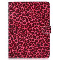 Hoes Case Wallet Portemonnee Rode Luipaardprint Kunstleer voor iPad 10.2 inch, iPad Pro 10.5 en iPad Air 3 10.5 inch - Zwart Rood Roze