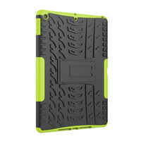 Bandenprofiel iPad 10.2 inch TPU Polycarbonaat Hoes met kickstand - Groen Zwart