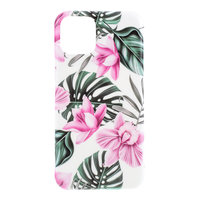 Hoesje Case Bloemen Bladeren Flowers Natuur TPU Flexibel Schokabsorberend voor iPhone 11 - Roze