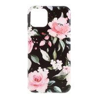 Hoesje Case Bloemen Bladeren Flowers Natuur TPU Flexibel Schokabsorberend voor iPhone 11 - Zwart