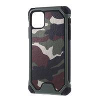 Camouflage Leger Hybride Lederen TPU Polycarbonaat iPhone 11 Pro Hoesje Case - Groen