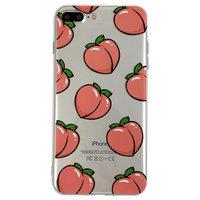 Perziken iPhone 7 Plus 8 Plus TPU hoesje - Transparant Roze Flexibel